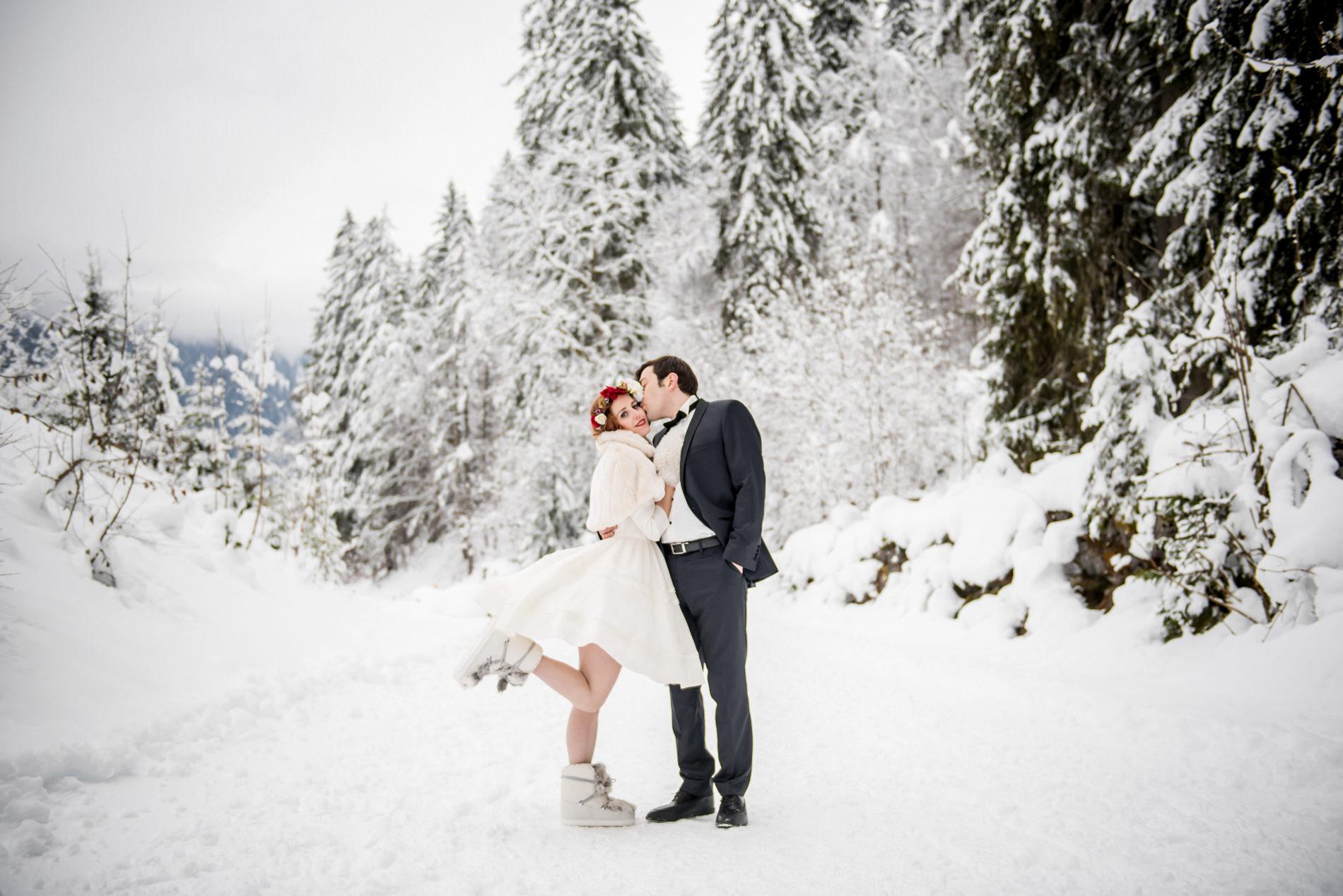 photographe mariage montagne neige