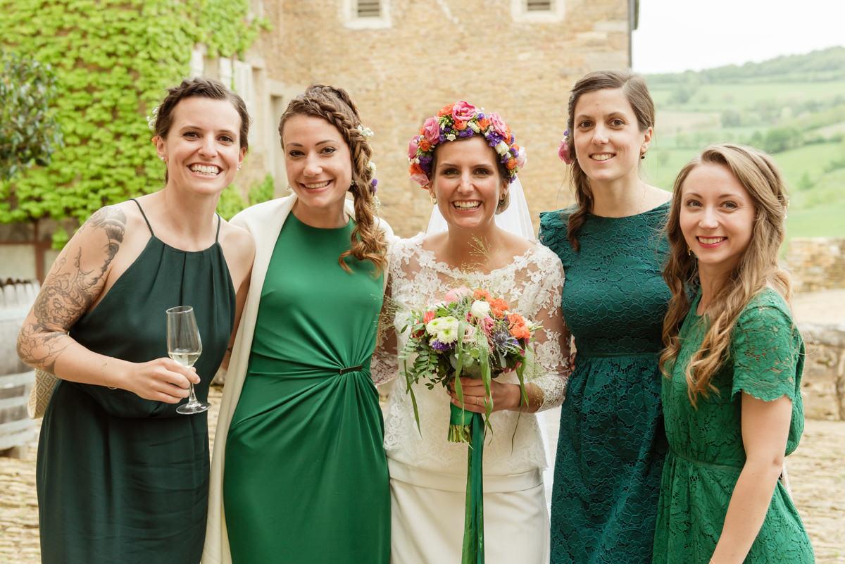 temoins mariée robes vertes